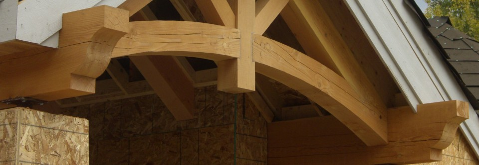Rugged exterior timber trusses